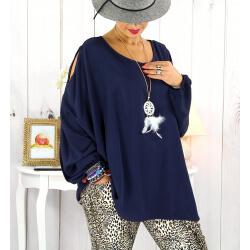 Tunique grande taille épaules dénudées collier bleu OPAL Tunique femme grande taille