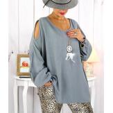 Tunique grande taille épaules dénudées collier gris OPAL Tunique femme grande taille