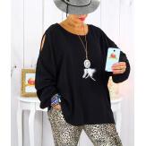 Tunique grande taille épaules dénudées collier noir OPAL Tunique femme grande taille