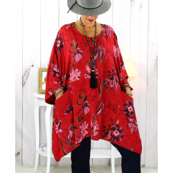 Tunique longue femme grande taille imprimée rouge GIMMY Tunique femme grande taille