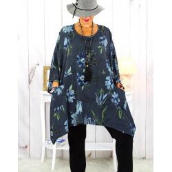 Tunique longue femme grande taille imprimée gris GIMMY Tunique femme grande taille