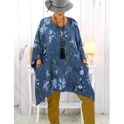 Tunique longue femme grande taille imprimée bleu jean GIMMY Tunique femme grande taille