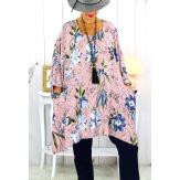 Tunique longue femme grande taille imprimée rose GIMMY Tunique femme grande taille