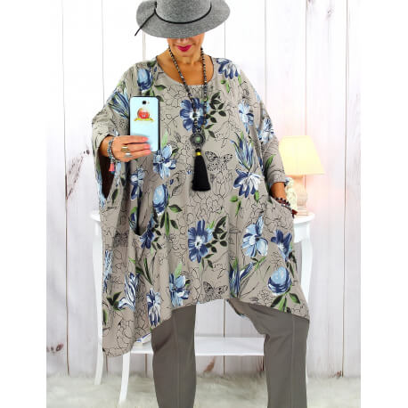 Tunique longue femme grande taille imprimée taupe GIMMY Tunique femme grande taille