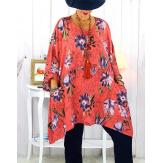 Tunique longue femme grande taille corail rose GIMMY Tunique femme grande taille