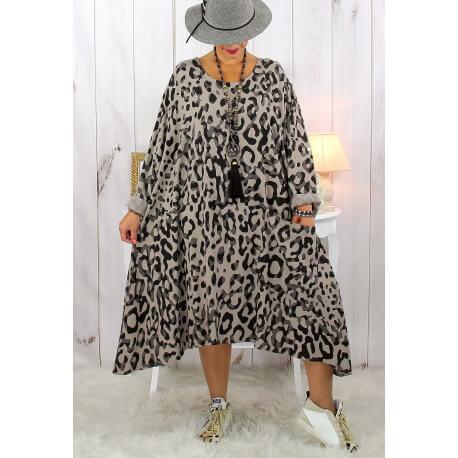 Robe femme grande taille bohème léopard taupe SACHA Robe grande taille
