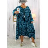 Robe femme grande taille bohème léopard bleu canard SACHA Robe grande taille