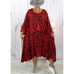 Robe femme grande taille bohème léopard rouge foncé SACHA Robe grande taille