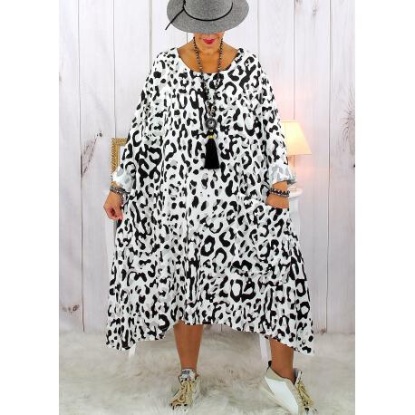 Robe femme grande taille bohème léopard blanc SACHA Robe grande taille