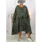 Robe femme grande taille bohème léopard kaki SACHA Robe grande taille