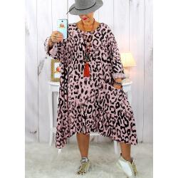 Robe femme grande taille bohème léopard rose SACHA Robe grande taille