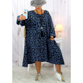 Robe femme grande taille bohème léopard bleu jean SACHA Robe grande taille