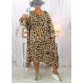 Robe femme grande taille bohème léopard camel clair SACHA Robe grande taille