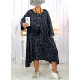 Robe femme grande taille bohème léopard gris SACHA Robe grande taille