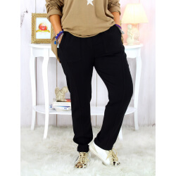 Pantalon femme grande taille stretch noir MOLIERE Pantalon femme grande taille