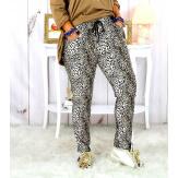 Pantalon femme grande taille stretch suédine beige GOLDY Pantalon femme grande taille