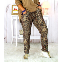 Pantalon femme grande taille stretch suédine marron GOLDY Pantalon femme grande taille