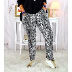 Pantalon femme grande taille stretch suédine gris GOLDY Pantalon femme grande taille