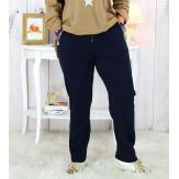 Pantalon femme grande taille stretch bleu marine MOLIERE Pantalon femme grande taille