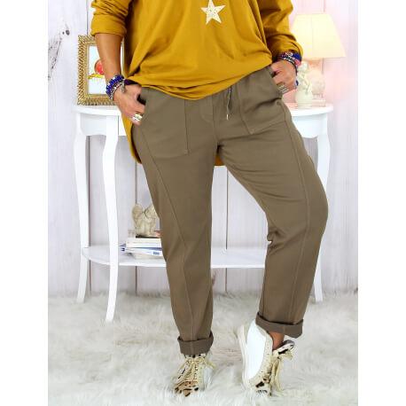 Pantalon femme grande taille stretch taupe MOLIERE Pantalon femme grande taille