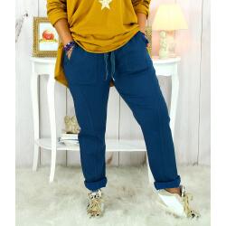 Pantalon femme grande taille stretch bleu canard MOLIERE Pantalon femme grande taille