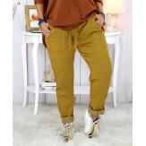 Pantalon femme grande taille stretch moutarde MOLIERE Pantalon femme grande taille