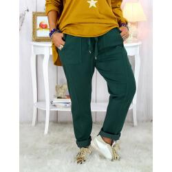 Pantalon femme grande taille stretch vert sapin MOLIERE Pantalon femme grande taille