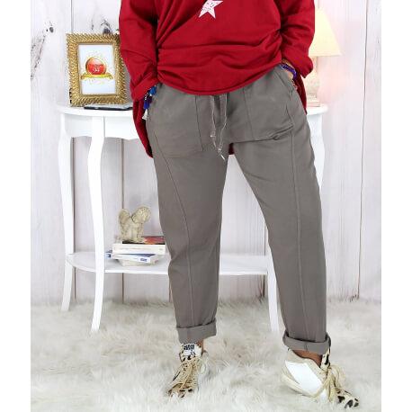 Pantalon femme grande taille stretch gris MOLIERE Pantalon femme grande taille