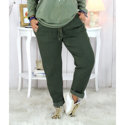 Pantalon femme grande taille stretch kaki MOLIERE Pantalon femme grande taille