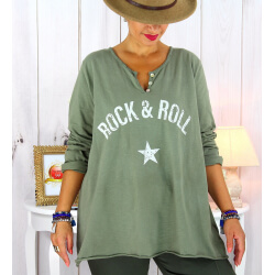 T shirt tunique femme grande taille coton kaki CITY Tee shirt tunique femme grande taille