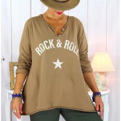 T shirt tunique femme grande taille coton camel CITY Tee shirt tunique femme grande taille