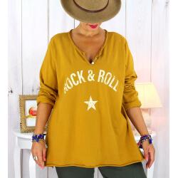 T shirt tunique femme grande taille coton moutarde CITY Tee shirt tunique femme grande taille