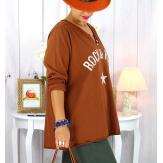 T shirt tunique femme grande taille coton Rouille CITY Tee shirt tunique femme grande taille