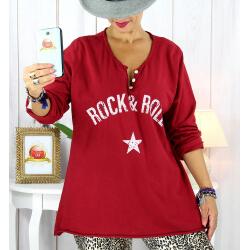 T shirt tunique femme grande taille coton bordeaux CITY Tee shirt tunique femme grande taille