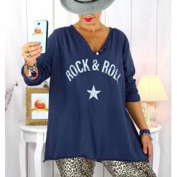 T shirt tunique femme grande taille coton bleu marine CITY Tee shirt tunique femme grande taille