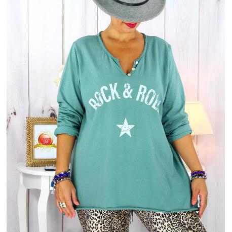 T shirt tunique femme grande taille coton vert jade CITY Tee shirt tunique femme grande taille