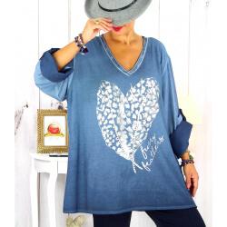 Tunique grande taille bi-matière délavée bleu jean LULY Tunique femme grande taille
