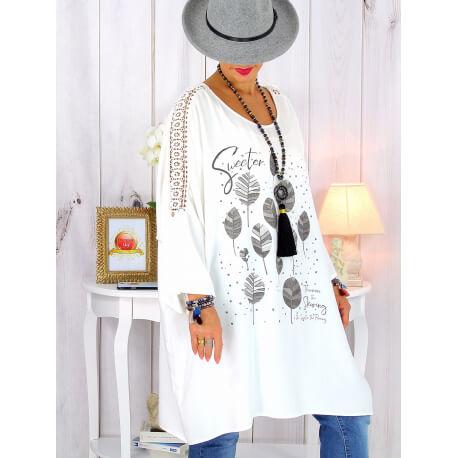 Tunique longue manches dentelle bohème blanche RINGO Tunique femme grande taille