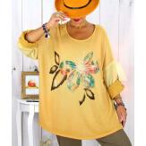 Tunique grande taille bi-matière délavée jaune GILOU Tunique femme grande taille