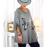 Tunique grande taille bi-matière délavée gris GILOU Tunique femme grande taille