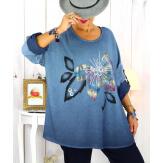 Tunique grande taille bi-matière délavée bleu jean GILOU Tunique femme grande taille