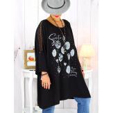 Tunique longue manches dentelle bohème noir RINGO Tunique femme grande taille