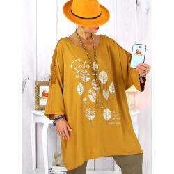 Tunique longue manches dentelle bohème moutarde RINGO Tunique femme grande taille