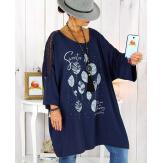 Tunique longue manches dentelle bohème bleu marine RINGO Tunique femme grande taille
