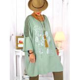 Tunique longue manches dentelle bohème kaki RINGO Tunique femme grande taille