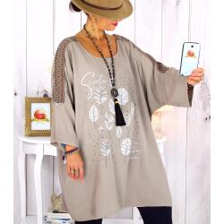 Tunique longue manches dentelle bohème taupe RINGO Tunique femme grande taille