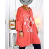 Tunique longue manches dentelle bohème corail RINGO Tunique femme grande taille
