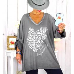 Tunique grande taille bi-matière délavée gris LULY Tunique femme grande taille