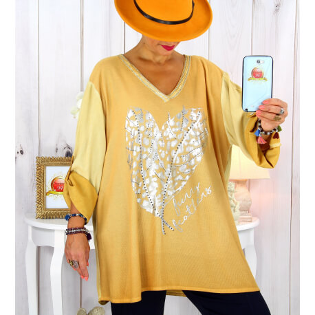Tunique grande taille bi-matière délavée jaune LULY Tunique femme grande taille