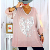 Tunique grande taille bi-matière délavée rose LULY Tunique femme grande taille
